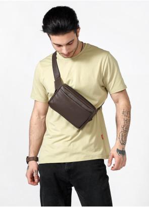 Чоловіча шкіряна сумка бананка Sambag 0ST коричнева шкіра