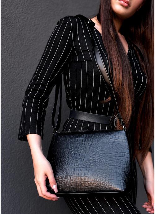 Жіноча сумка Кросбоді Sambag Rose LZN Принт крокодила
